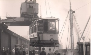 Lower deck of Glasgow Tram 488 swinging onto the ship