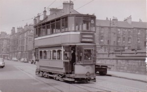 Anderston Cross with a route 15 tram reversing c1949
